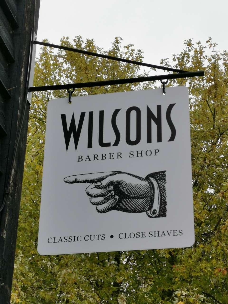 Wilsons Barber Shop sign
