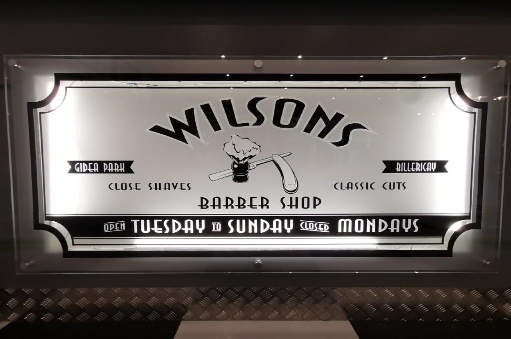 Wilsons Barber Shop interior signage